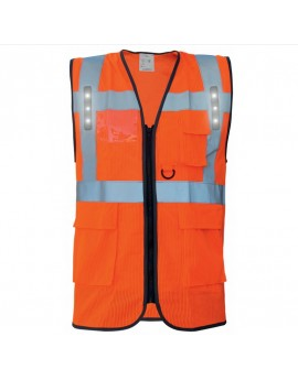 GILET HAUTE VISIBILITE MULTIPOCHES CHASUBLE SAFARI LED
